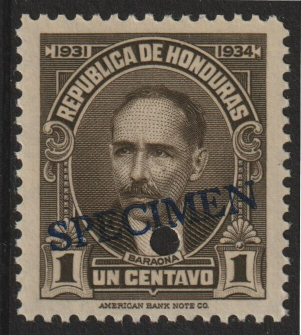Honduras 1931 Pres Baraona 1c sepia optd SPECIMEN (20mm x 3mm) with security punch hole (ex ABN Co archives) unmounted mint as SG 319