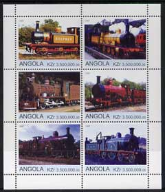 Angola 2000 Steam Locos #01 perf sheetlet containing set of 6 unmounted mint