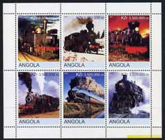 Angola 2000 Steam Locos #02 perf sheetlet containing set of 6 unmounted mint