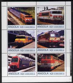 Angola 2000 Modern Trains #01 perf sheetlet containing set of 6 unmounted mint