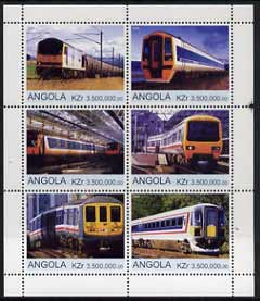 Angola 2000 Modern Trains #02 perf sheetlet containing set of 6 unmounted mint