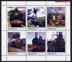 Angola 2000 Steam Locos #04 perf sheetlet containing set of 6 unmounted mint, stamps on , stamps on  stamps on railways