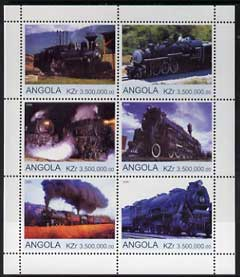 Angola 2000 Steam Locos #05 perf sheetlet containing set of 6 unmounted mint