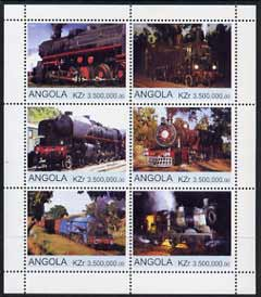 Angola 2000 Steam Locos #06 perf sheetlet containing set of 6 unmounted mint