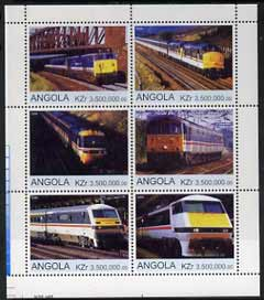 Angola 2000 Modern Trains #03 perf sheetlet containing set of 6 unmounted mint