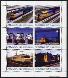 Angola 2000 Modern Trains #04 perf sheetlet containing set of 6 unmounted mint