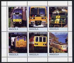 Angola 2000 Modern Trains #06 perf sheetlet containing set of 6 unmounted mint