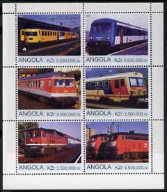 Angola 2000 Modern Trains #07 perf sheetlet containing set of 6 unmounted mint