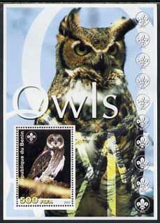 Benin 2003 Owls perf m/sheet with Scout Logo unmounted mint