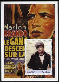Angola 2002 History of the Cinema #02 (Marlon Brando - The Wild One) perf m/sheet unmounted mint