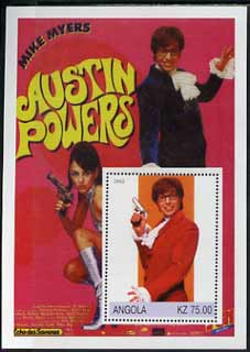 Angola 2002 History of the Cinema #03 (Austin Powers) perf m/sheet unmounted mint