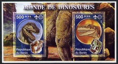 Benin 2002 World of Dinosaurs (& Minerals) perf m/sheet containing 2 values each with Scout Logo, unmounted mint