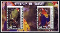 Benin 2002 Parrots perf m/sheet containing 2 values each with Scout Logo, unmounted mint