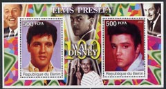 Benin 2002 Birth Centenary of Walt Disney featuring Elvis Presley perf m/sheet containing 2 values unmounted mint