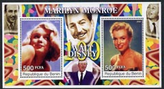 Benin 2002 Birth Centenary of Walt Disney featuring Marilyn Monroe perf m/sheet containing 2 values unmounted mint