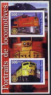 Benin 2002 Portraits of Locomotives imperf m/sheet containing 2 values each with Rotary Logo, unmounted mint