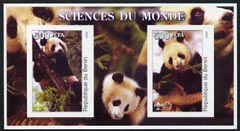 Benin 2002 Pandas imperf m/sheet containing 2 values each with Scout Logo, unmounted mint