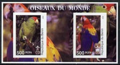 Benin 2002 Parrots imperf m/sheet containing 2 values each with Scout Logo, unmounted mint