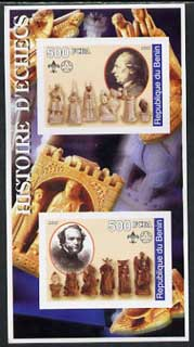 Benin 2002 History of Chess imperf m/sheet containing 2 values each with Scouts Logo, unmounted mint