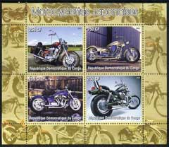 Congo 2005 Japanese Motorcycles #01 perf sheetlet containing set of 4 unmounted mint