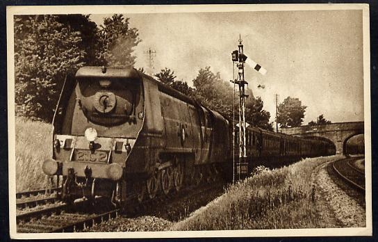 Postcard by Ian Allan - SR up Atlantic Coast Express headed by Merchant Navy Class 4-6-2 No.21C2 Union Castle, sepia, unused and in good condition