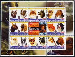 Antigua - Redonda 2005 Scout Anniversaries - Cats & Dogs #01 perf sheetlet containing set of 8 values plus label unmounted mint