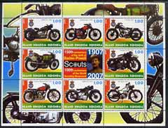Antigua - Redonda 2005 Scout Anniversaries - Motorcycles perf sheetlet containing set of 8 values plus label unmounted mint