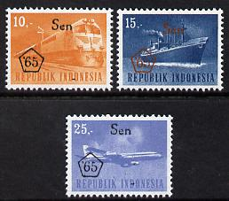 Indonesia 1965 Revalued set of 3 (Plane, Ship & Train) unmounted mint SG 1074-75*