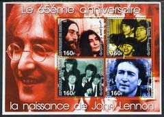 Djibouti 2005 65th Birth Anniversary of John Lennon perf sheetlet containing set of 4 values unmounted mint