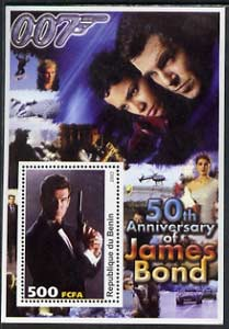 Benin 2003 50th Anniversary of James Bond #01 perf s/sheet unmounted mint