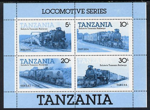 Tanzania 1985 Locomotives perforated proof m/sheet in blue & black only unmounted mint (as SG MS 434), stamps on railways  varieties, stamps on big locos