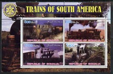 Somalia 2002 Trains of South America perf sheetlet containing 4 values with Rotary Logo, unmounted mint