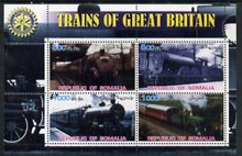 Somalia 2002 Trains of Great Britain #1 perf sheetlet containing 4 values with Rotary Logo, unmounted mint