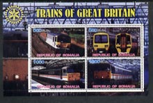 Somalia 2002 Trains of Great Britain #2 perf sheetlet containing 4 values with Rotary Logo, unmounted mint