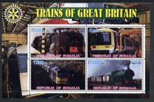 Somalia 2002 Trains of Great Britain #3 perf sheetlet containing 4 values with Rotary Logo, unmounted mint