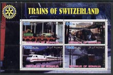 Somalia 2002 Trains of Switzerland perf sheetlet containing 4 values with Rotary Logo, unmounted mint