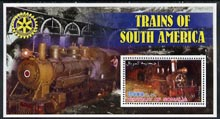 Somalia 2002 Trains of South America perf s/sheet with Rotary Logo in background, unmounted mint