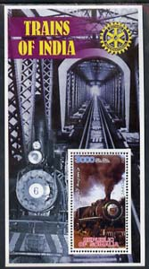 Somalia 2002 Trains of India #2 (2-6-4 Class) perf s/sheet with Rotary Logo in background, unmounted mint