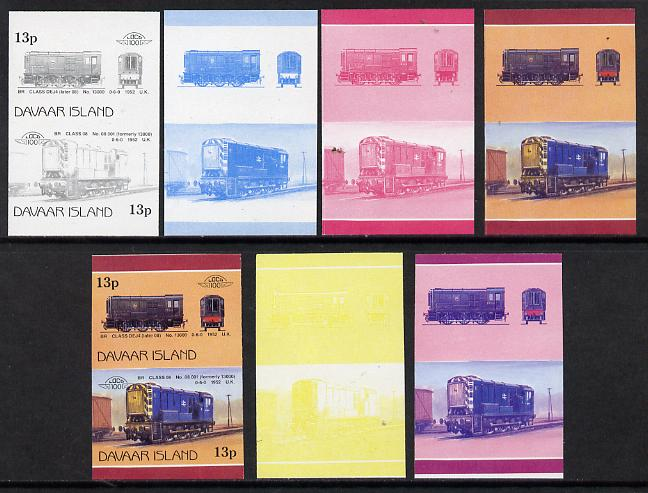 Davaar Island 1983 Locomotives #2 BR Class DEJ4 0-6-0 shunter 13p set of 7 se-tenant progressive proof pairs comprising the 4 individual colours and 2, 3 and all 4 colour composites (7 proof pairs) unmounted mint*