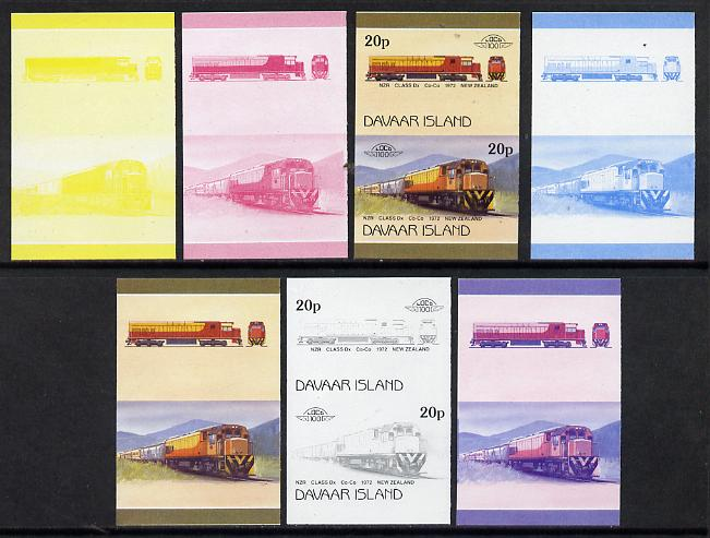 Davaar Island 1983 Locomotives #2 NZR Class Dx Co-Co loco 20p set of 7 se-tenant progressive proof pairs comprising the 4 individual colours and 2, 3 and all 4 colour composites (7 proof pairs) unmounted mint*