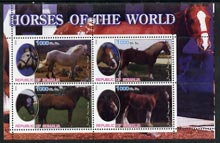 Somalia 2002 Horses of the World perf sheetlet #4 containing 4 values, unmounted mint