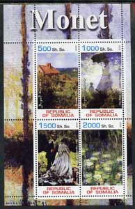 Somalia 2002 Monet Paintings perf sheetlet containing 4 values, unmounted mint