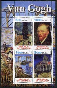 Somalia 2002 Van Gogh Paintings perf sheetlet containing 4 values, unmounted mint
