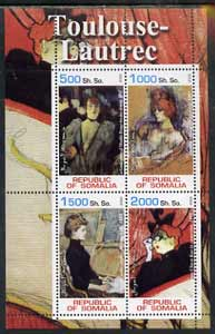 Somalia 2002 Toulouse-Lautrec Paintings perf sheetlet containing 4 values, unmounted mint