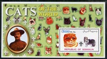 Somalia 2002 Domestic Cats of the World perf s/sheet #01 with Scout Logo & Baden Powell in background, unmounted mint