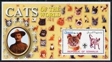 Somalia 2002 Domestic Cats of the World perf s/sheet #02 with Scout Logo & Baden Powell in background, unmounted mint