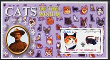 Somalia 2002 Domestic Cats of the World perf s/sheet #06 with Scout Logo & Baden Powell in background, unmounted mint