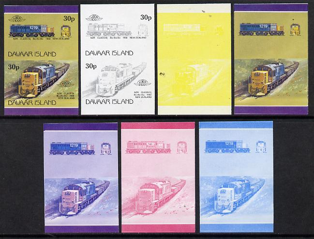 Davaar Island 1983 Locomotives #2 NZR Class Dj Bo-Bo-Bo loco 30p set of 7 se-tenant progressive proof pairs comprising the 4 individual colours and 2, 3 and all 4 colour composites (7 proof pairs) unmounted mint*