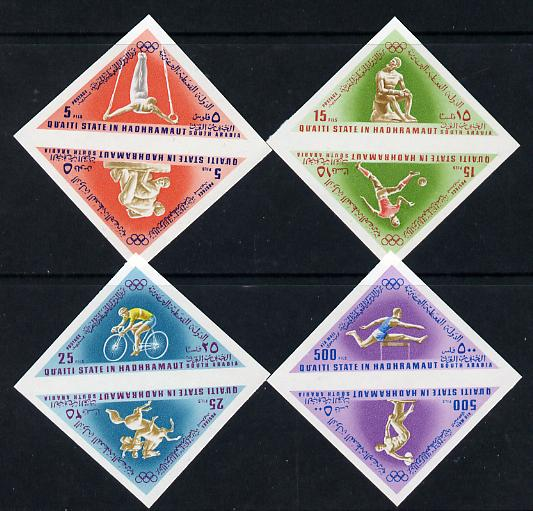 Aden - Quaiti 1968 Mexico Olympics imperf triangular set of 8 unmounted mint (Mi 206-13B), stamps on sport, stamps on olympics, stamps on triangulars, stamps on gymnastics, stamps on  gym , stamps on bicycles, stamps on wrestling, stamps on horses, stamps on discus, stamps on hurdles, stamps on football