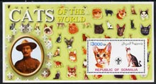 Somalia 2002 Domestic Cats of the World perf s/sheet #08 with Scout Logo & Baden Powell in background, unmounted mint